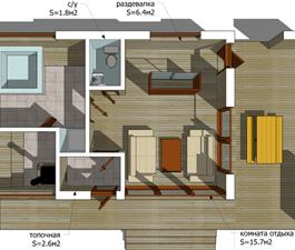 Проект сауны с террасой ECS. 81 м²