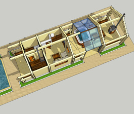 Проект модульного банного комплекса (баня, бассейн, зона барбекю)