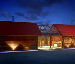 Проект бани с досуговым комплексом. 67 м²