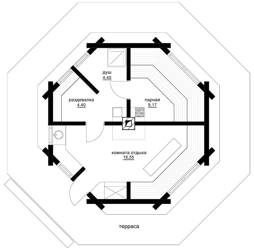 Проект бани «Аил». План. Архитектор: Сергей Косинов. Новосибирск. 2015 г.