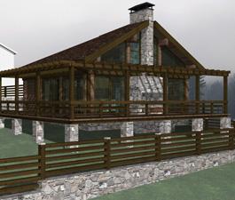 Проект сауны с террасой. 50 / 68 м²