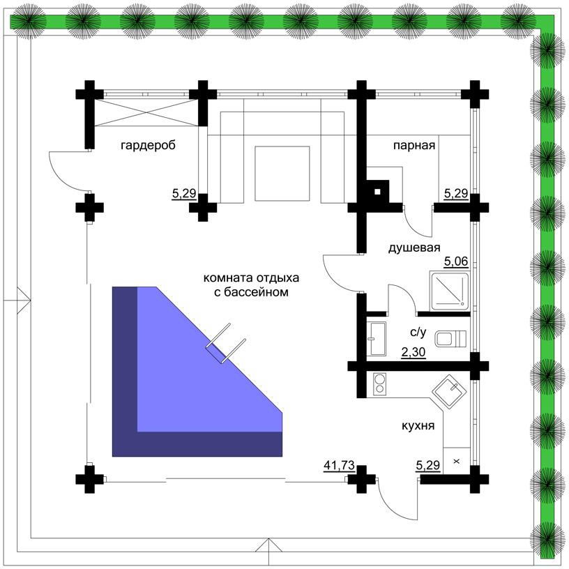 Проект бани «Ласточка-2». План. Архитектор: Сергей Косинов. Новосибирск. 2016 г.