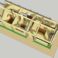 Проект бани с беседкой для барбекю. БК-2. План. Интерьер. Архитектор Дмитрий Антонов. Новосибирск