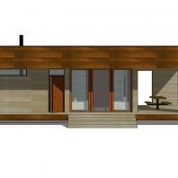 Проект сауны с террасой ECS. 81 м². Фасад. Разработан: АФ-студия