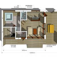 Проект сауны с террасой ECS. 81 м². Интерьер. Разработан: АФ-студия