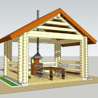 Проект модульного банного комплекса (зона барбекю). АФ-студия. Архитектор Дмитрий Антонов