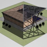 Эскизный проект банного комплекса «Цикада». Архитектор: Сергей Косинов. Новосибирск