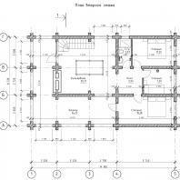 Проект гостевого дома с банным комплексом. План 2-го этажа. Архитектор Сергей Степанов