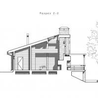 Проект сауны с террасой. Разрез. Архитектор Сергей Косинов