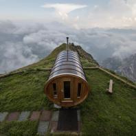 Сауна горной базы Rifugio Lagazuoi. Доломитовые Альпы, Национальный парк Доломити Беллунези, Кортина-д'Ампеццо, Италия